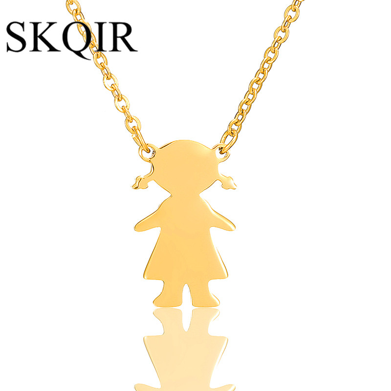 SKQIR Girl Figure Shape Sweater Pendant Necklaces Cute Girlss