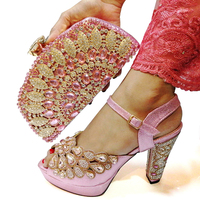 Women Shoes and Bag Set Decorated with Rhinestone African Rhinestone Shoes and Bag Sets Nigerian Women Shoes Bag Set for Party