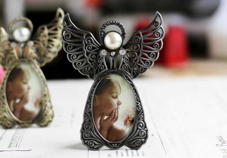 Metal Mini Pearl Photo Frames,Vintage Picture Frames Oval,Angel Wings Baby Photo Frame Home Decoration Porta Retrato Ramki Foto