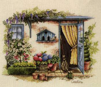 Fish Cross Sch C733 The Gate Of Garden Patterns On Needlework For Embroidery Counted