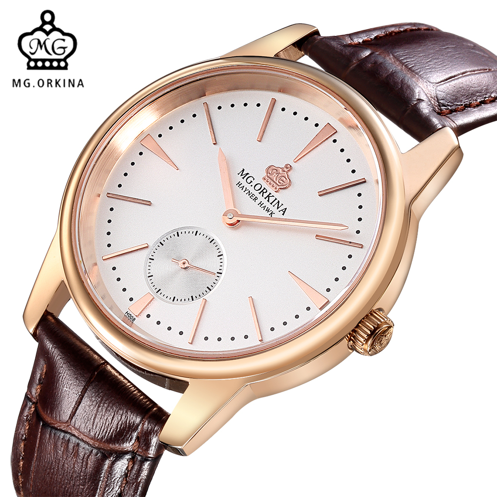 2017 mg orkina fashion men s crystal quartz stopwatches stainless steel wristwatch gift with box free ship MG. ORKINA Men Watches 2017 Genuine Leather Strap Stainless Steel Case Japan Quartz Movt Rose Gold Watch Male Clock Relogios