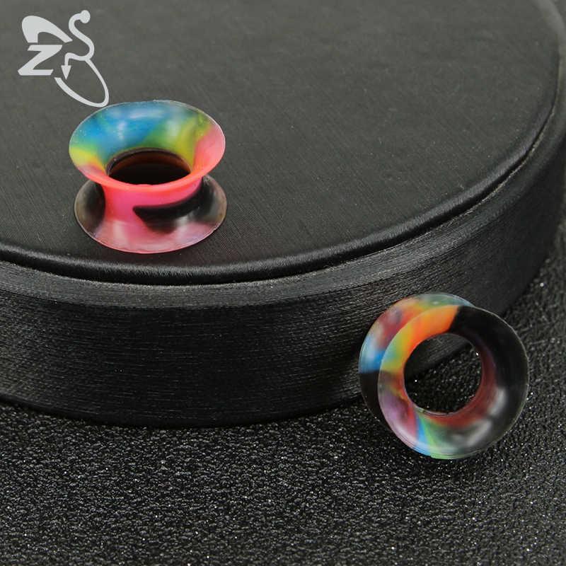 ZS 2 יח'\חבילה צבעוני סיליקון אוזן תקע Tunels בציר מודד אוזן מרחיבי אופנה בשר פירסינג גוף תכשיטי לנשים גברים