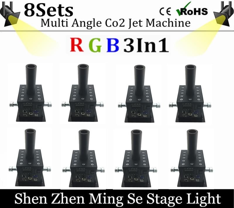 8pcs/lot 12x3w Led CO2 Jet Machine Co2 Cryo Jet Canon Stage Effect Co2 Fog Machine With Free 3M Co2 Gas Hose