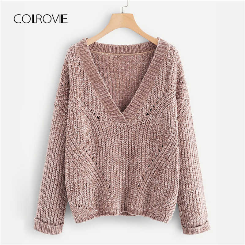 COLROVIE Pink V Neck Rolled Cuff Knitted Sweater Ladies Autumn 2018 Female  Girls Pullover Winter Jumper d587413bc
