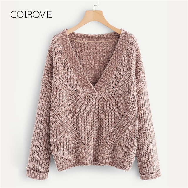 981fc607bf COLROVIE Pink V Neck Rolled Cuff Knitted Sweater Ladies Autumn 2018 Female  Girls Pullover Winter Jumper