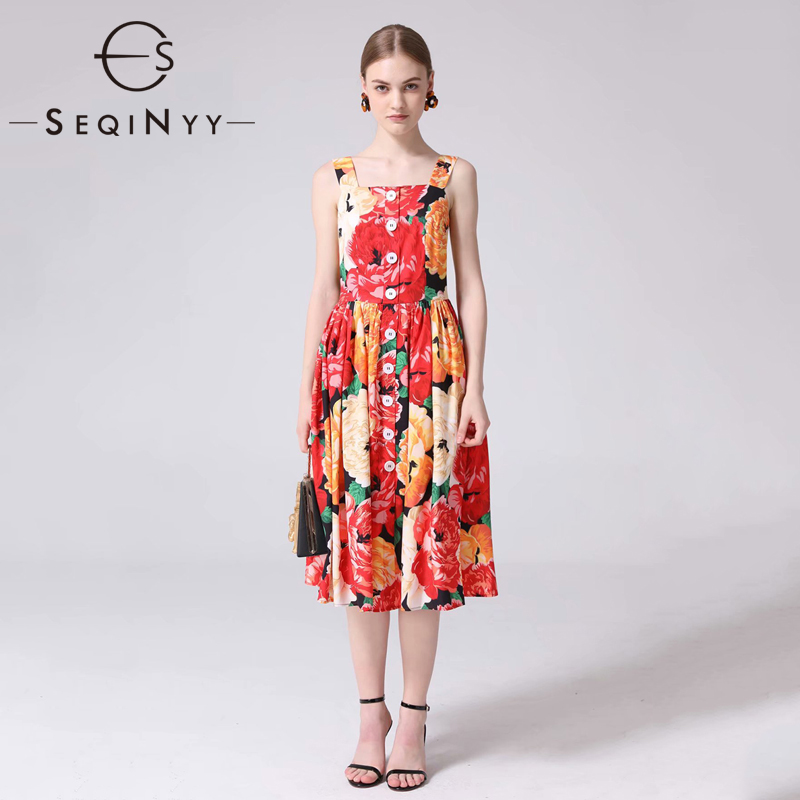 SEQINYY Fashion Dress 2019 Summer Romantic New Design Strapless Yellow Red Flowers Printed A line Women
