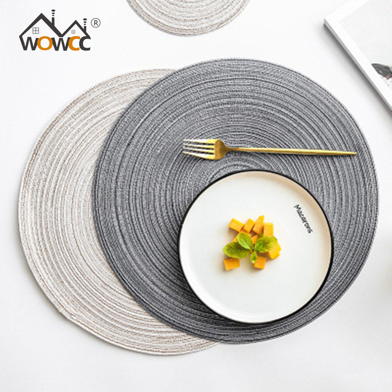790edd24ded Christmas Tableware Mat Round Weave Line Placemat For Dining Tableware Pad  Waterproof Washable Placemats Pads Bowl