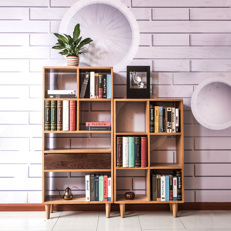 Bookcases Living Room Furniture Home Oak Solid Wood Bookshelf Cabinet Display Book Stand Modern 70