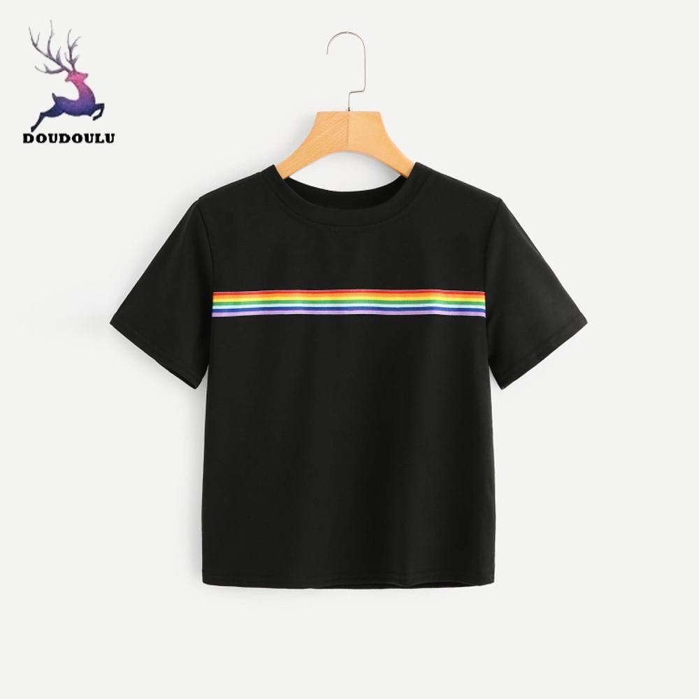 Rainbow Cactus T shirt Women Casual Summer Tshirts Cotton tops Vintage Black White T-shirt Womens Clothing Moletom#SS Футболка