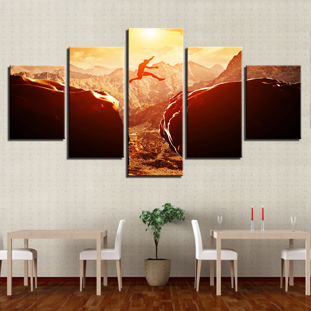 Canvas Pictures Home Decor HD Prints Sunset Parkour Poster 5 Pieces Extreme  Sports Across Mountains Paintings