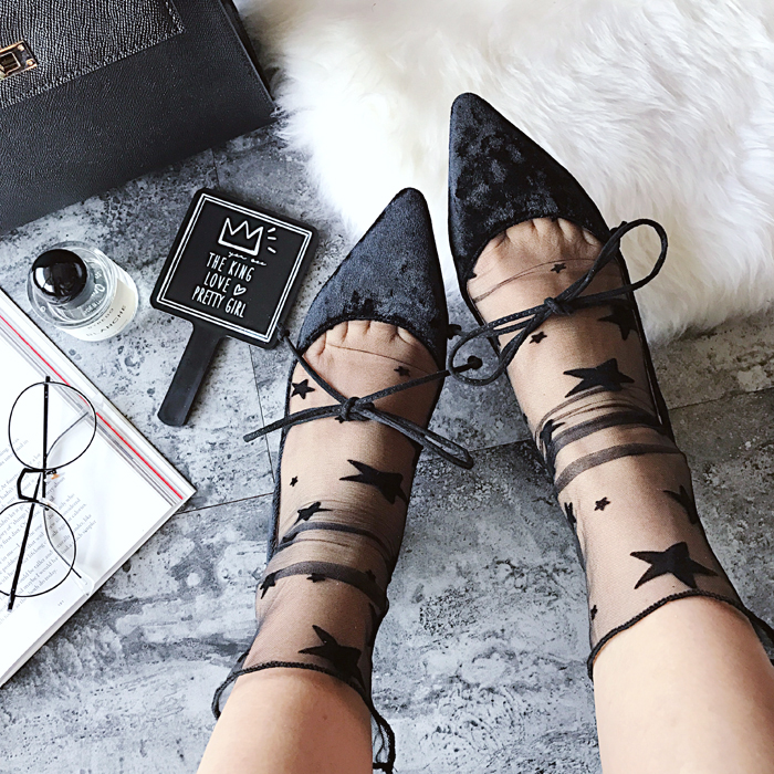 Ladies Sexy Transparent Mesh Lace Women Fishnet Ankle High   Socks   Fish Net Dot Stats Short   Socks   chaussettes femme fantaisie WA1