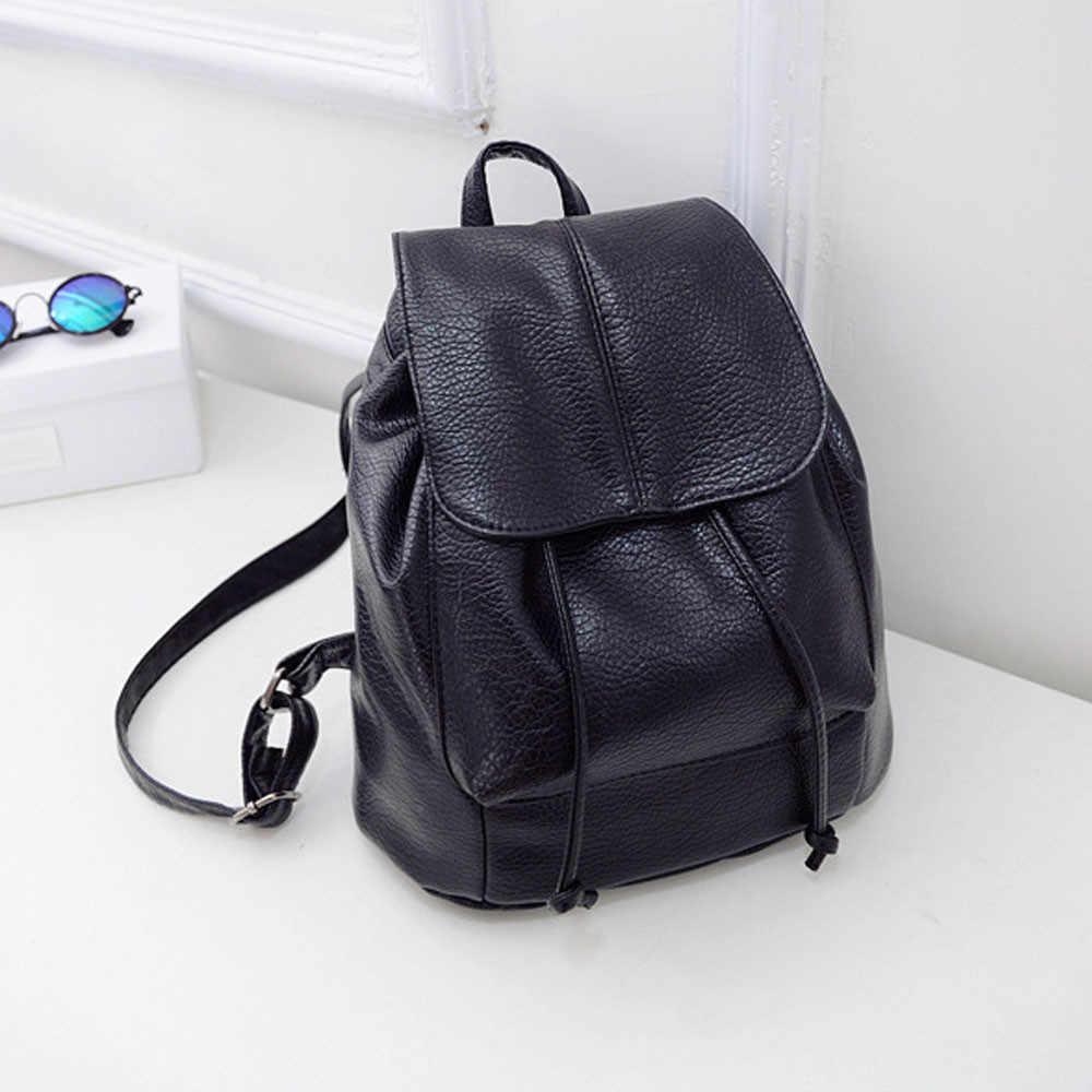 9abfd6aa796e Женские Кожаные Рюкзаки Шнурок Рюкзак женский дорожная сумка школьная сумка  черный сплошной Mochila Feminina #415