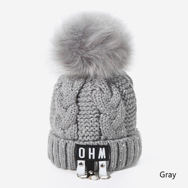 d95341b425d64a New Pom Poms Women's Winter Hat Fashion Casual Letter Knit Hat Brand Thick  Women Cap Skullies