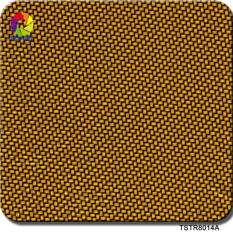 Motorrad-zubehör & Teile Tsautop 1 Mt 10 Mt Tstr8014a Hydrographie Gelb Kohlefaser Muster Wassertransferdruck Film Exquisite Traditionelle Stickkunst