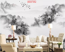 beibehang Custom size new Chinese style mountain landscape bird flying Caixiang cloud background wall behang wallpaper