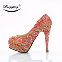 2019 Womens wedding shoes Size drill red AB Crystal Shoe woman Ladies Party dress shoes Bride bridesmaid's wedding shoes