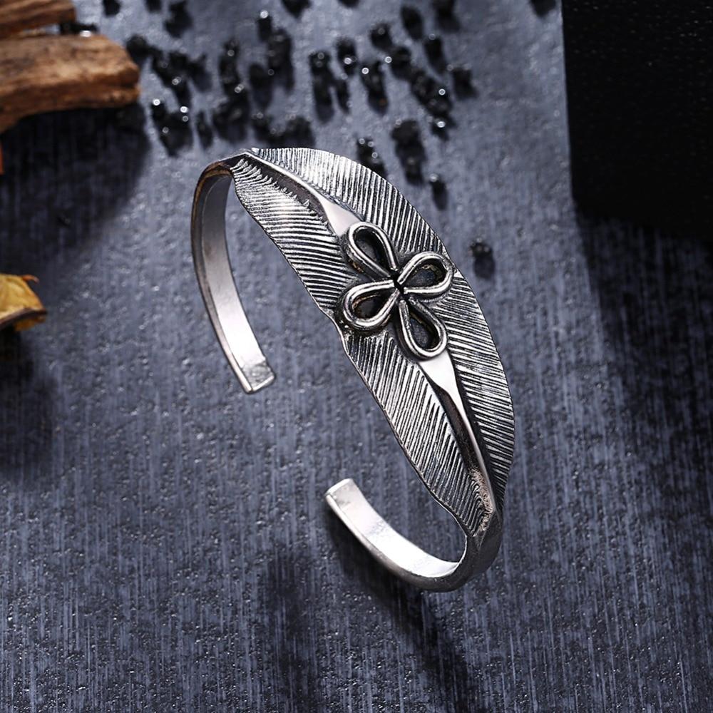 GOMAYA S925 Sterling Silver Leaf Shape Bracelet with Flower Thai Silver Handmade Opening Bangles For Women Adjustable Jewelry leaf opening bracelet