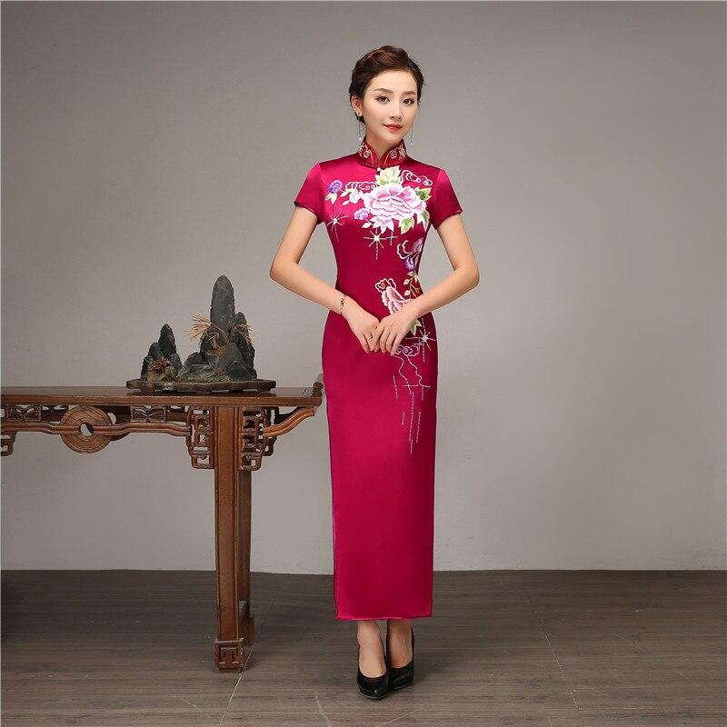2019 été nouveau col Mandarin Slim Qipao femmes élégantes Style chinois broderie fleur Cheongsam grande taille longue robe robe