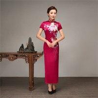 2019 новые летние воротник стойка приталенный китайский женский халат элегантный для женщин китайский стиль вышивка цветок Cheongsam большой Раз