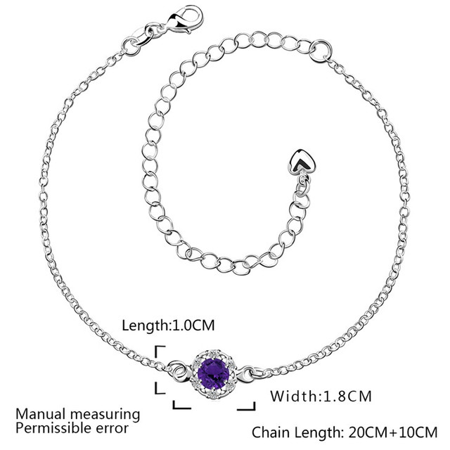 Silver Plated Ruby Saphire Amethyst Zircon Charm Anklet