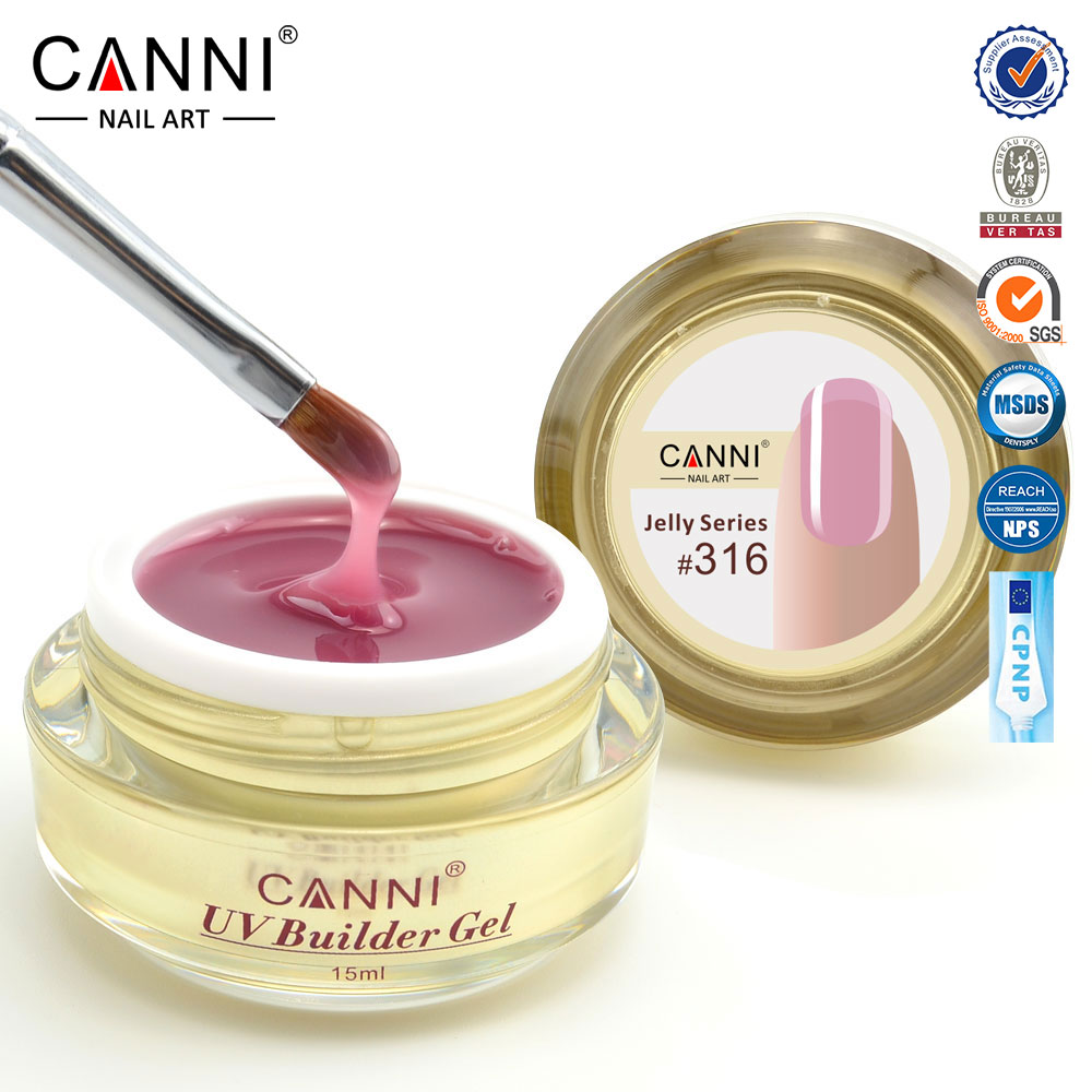 #50951 2017 newest CANNI 15ml 25 colors semi color solid stransparent color extension uv camouflage hard jelly builder stand gel