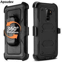 Apsudev Defender Phone Cases For Samsung Galaxy S9 Plus Soft TPU Edge Hybrid Protective Case Cover For S9 Plus with Belt Clip