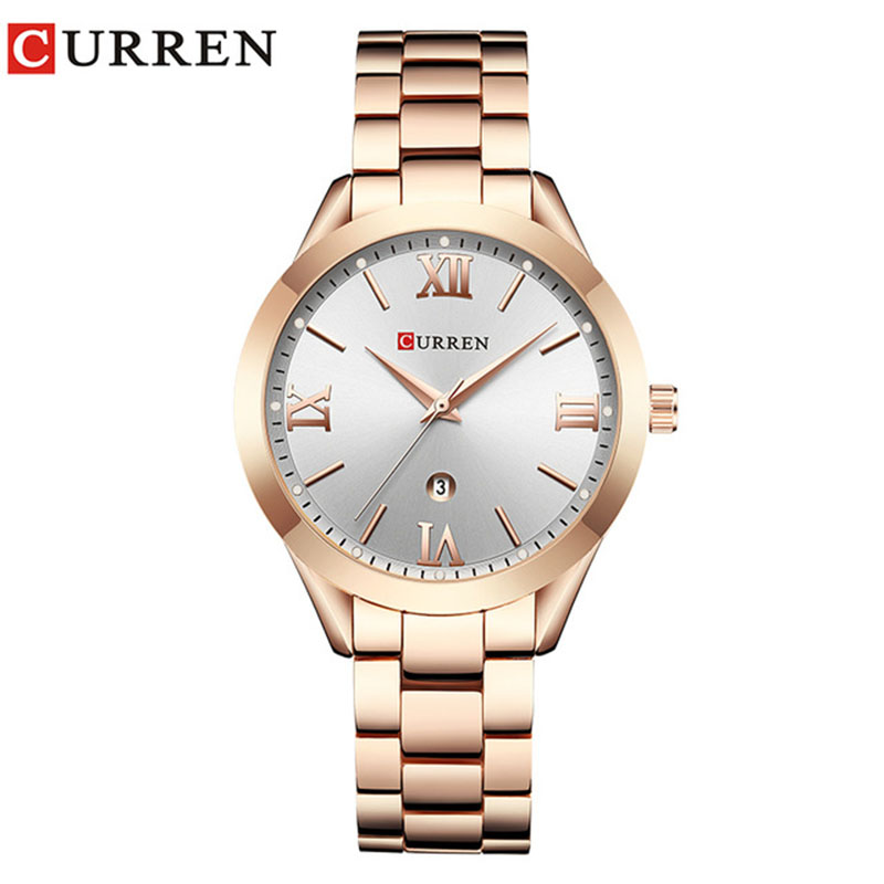 CURREN 9007 New Women Watch Top Luxury Brand Female Quartz Watch Ladies Fashion Dress Wristwatches Relogio Geminino Rose Gold недорого