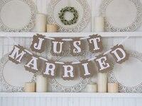 Бесплатная доставка 1 X Ретро только что женатый баннер праздник девичник знак Свадебная вечеринка деко поставка фото реквизит