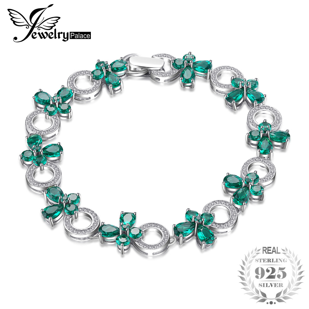 JewelryPalace Butterfly Shape 6.8ct Created Emerald Tennis Bracelet For Women 925 Sterling Silver Jewelry Fine Jewelry Best Gift jewelrypalace butterfly 3 7ct created emerald bangle bracelet 925 sterling silver fashion fashion jewelry for women 2018 new