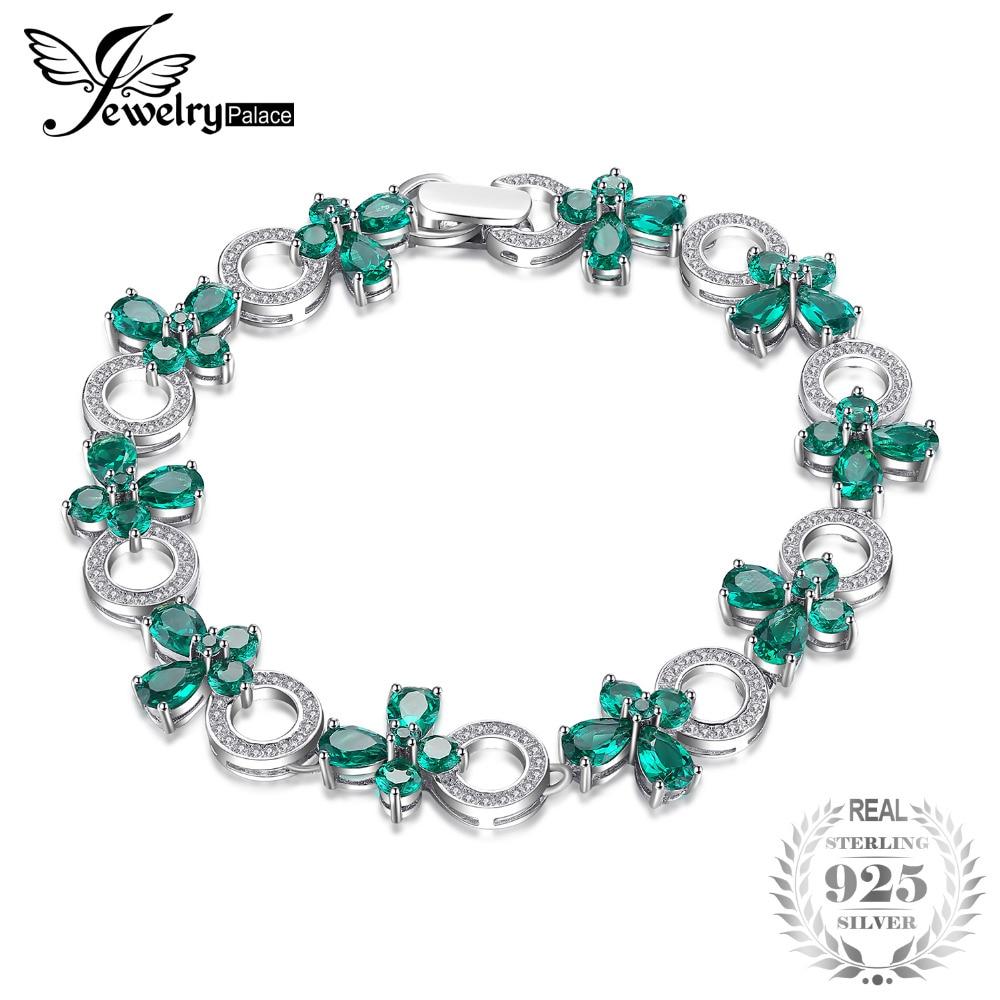 JewelryPalace Papillon Forme 6.8ct Créé Émeraude Tennis Bracelet Pour Les Femmes 925 Bijoux En Argent Sterling Beaux Bijoux Meilleur Cadeau