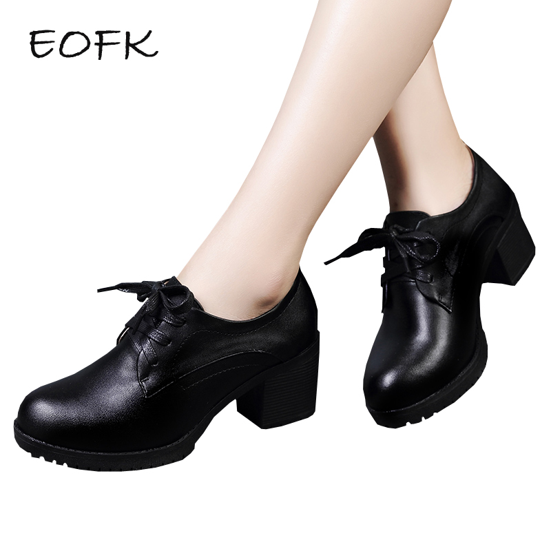 EOFK Women Pumps Shoes Woman Leather Square Heel Shoes High Heels Fashion Concise Black Women's Pumps Office Lady Shoes