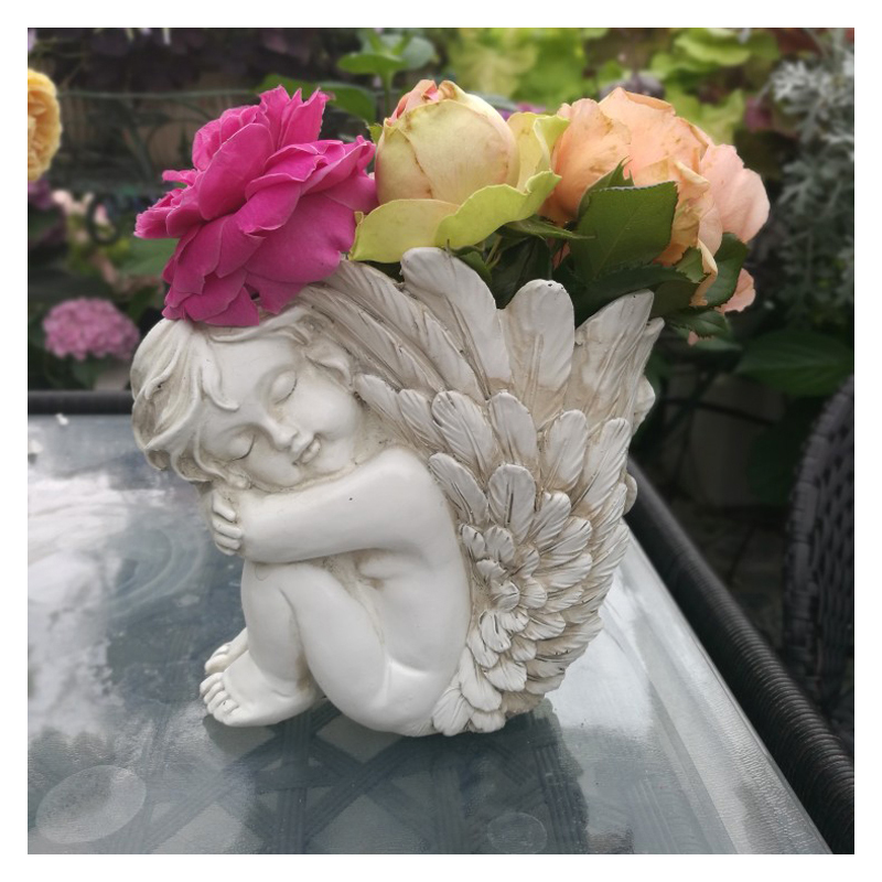 AliExpress & US $17.36 36% OFF European Retro Boy Angel Vase Resin Crafts Decoration Cupid Ornament Outdoor Flower Pot Goddess Little Fairy Big Wing Figurines-in ...