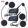 2 pcs V6 Helmet Intercom 6 Riders 1200M Motorcycle Bluetooth Intercom Headset walkie talkie Helmet BT Interphone
