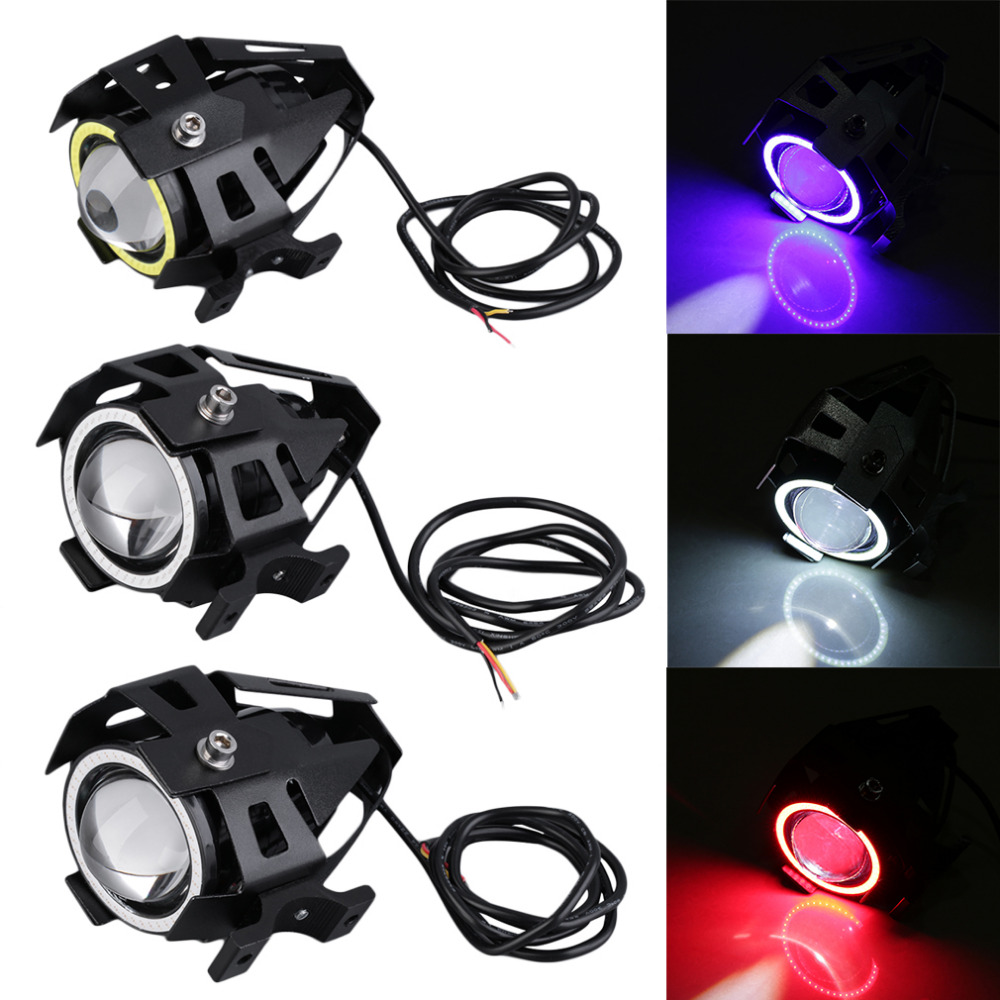 New Arrivals 1pc 3 colors High Power 125W U7 LED Motorcycle Spot Light Driving Headlight ...