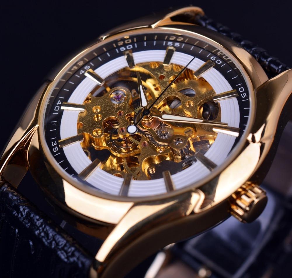 winner navigator series retro golden skeleton white watch
