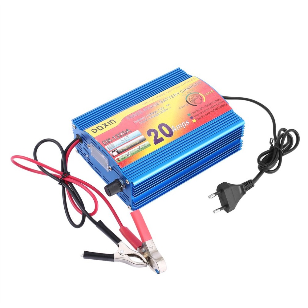 Automatic DC12V 20A Intelligent Battery Charger Three Stage Charging Modes Power Portable Lead-acid Battery Charger