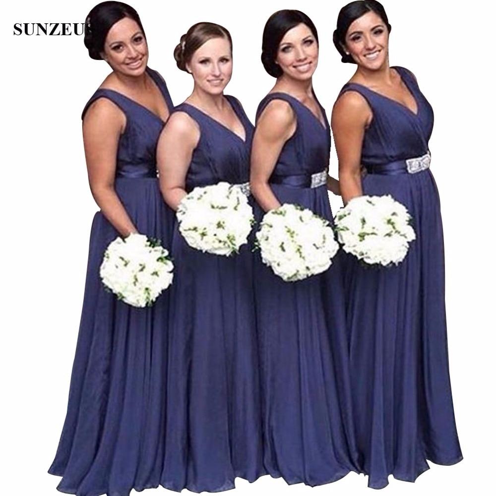 Navy Blue Chiffon   Bridesmaids     Dresses   Long A-line V-neck Women Wedding Party   Dress   With Beads abiti da damigella d'onore BDS048