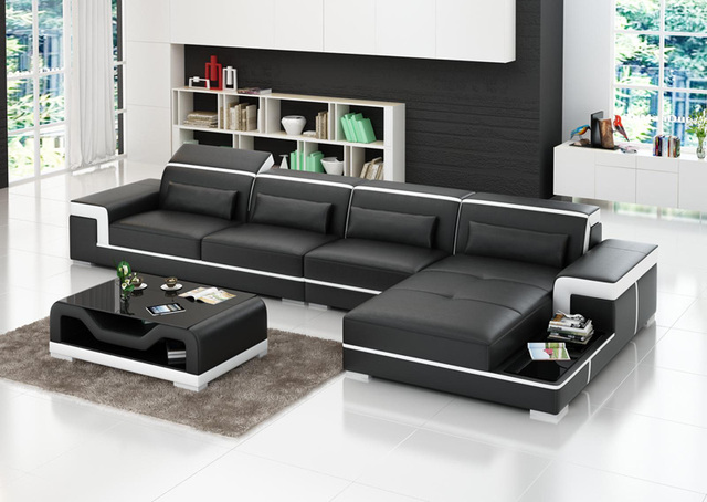 Modern Small Size Leather Sofa Set For House Living Room