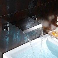 Gepolijst Chrome Wall Mount Waterval Bad Sink Mengkraan Dual Handvat Badkamer Wastafel Warm en Koud Water Kranen LT-301A