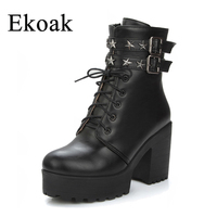 Ekoak Fashion Sexy High Heels Motorcycle Boots Lace Up Autumn Leather Metal Stars Platform Ankle Boots for Women Shoes Woman