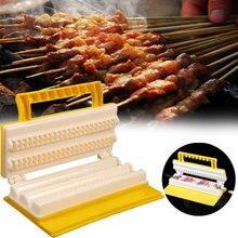 Новинка, практичный Многофункциональный двухрядный шашлык для барбекю, шашлык из АБС-пластика, устройство для приготовления мяса, портативное устройство для приготовления шашлыка
