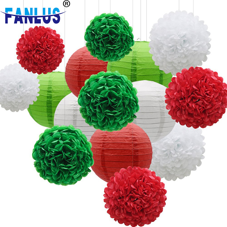 18pcs Set Christmas Party Paper Lantern Decoration for Home Xmas Pompoms Christmas Decor Winter Favors Supplies Baby Shower in Party DIY Decorations from Home Garden