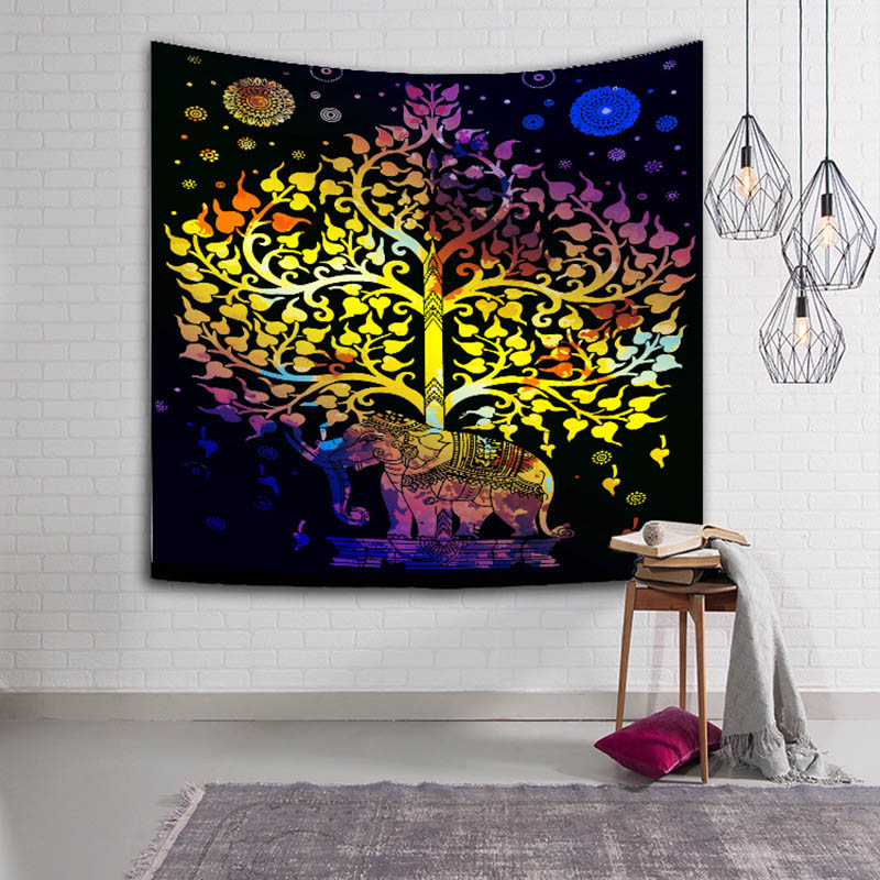 USA Sell Elephant Tree Tapestry Indian Wall Hanging Mandala Bedspread Home Decor