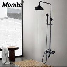 Monite الأسود جدار جبل الأمطار 8 بوصة جولة دش رئيس 3 وظائف 2 مقابض حوض استحمام للاستخدام في الحمام دش صنبور مجموعة خلاط الصنابير