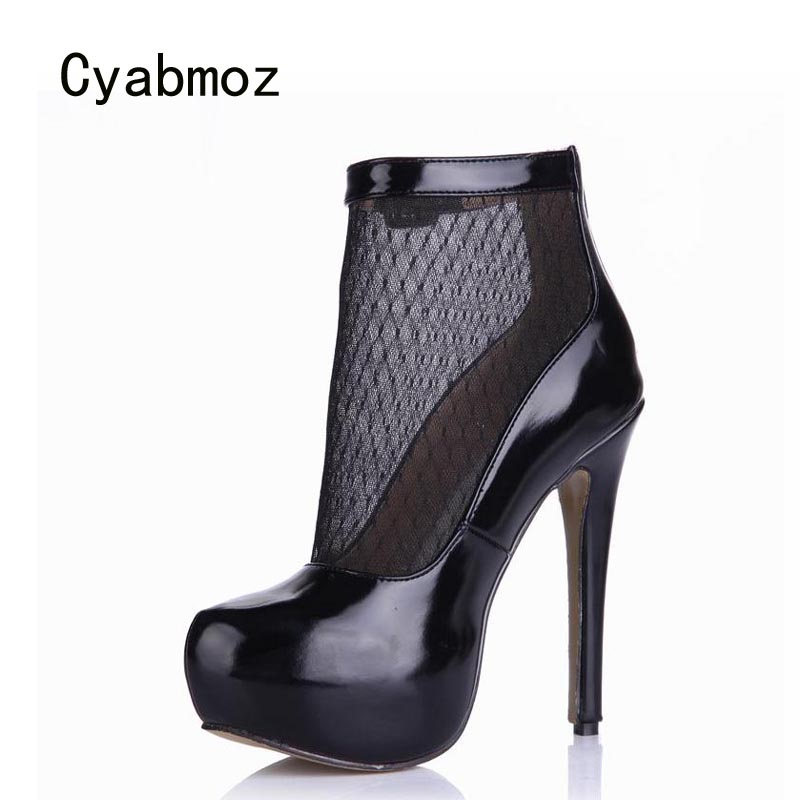 Cyabmoz New Platform High Heels Women Ankle Boots Shoes Woman Buckle Breathable Party Dress Shoes Zapatillas Botas Zapatos Mujer