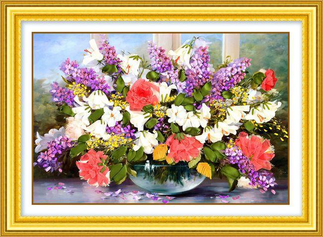 Needlework, kinesiska DIY Ribbon Cross Stitch Sets för broderi kit, vackra lila blommor korsstygn handarbete hus inredning