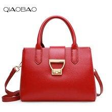 QIAOBAO Designer Taschen Frauen 100% Echtem Leder Handtaschen Marke Luxus Hasp Damen Handtaschen Mode Totes Bolsos