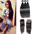 Cambodian Virgin Hair With Closure Cambodian Straight Hair With Closure 3 Bundles Human Hair Weaves With Closure