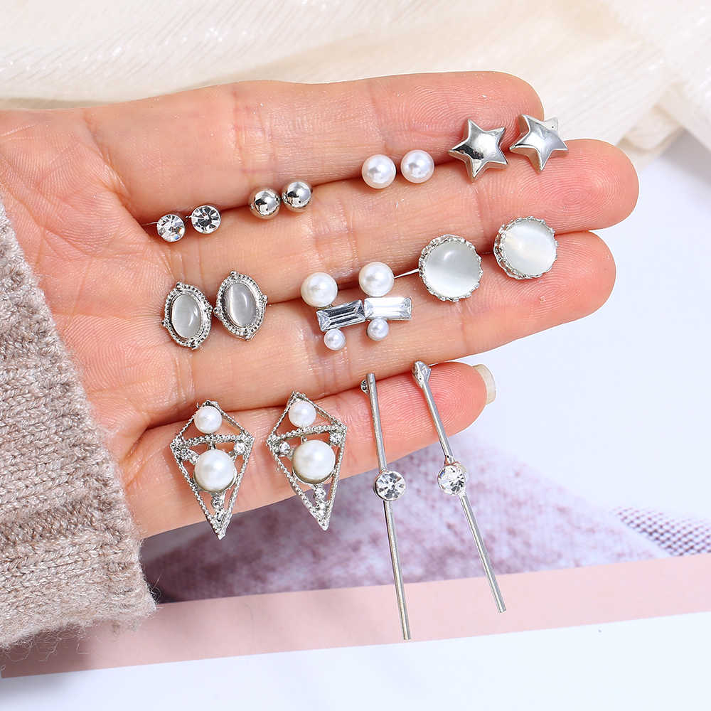 Mixed Styels Women's Stud Earrings Rhinestone Gem Metal Ear Jewelry Party Earring Gothic Tassel Brincos Fashion 2019 Earrings