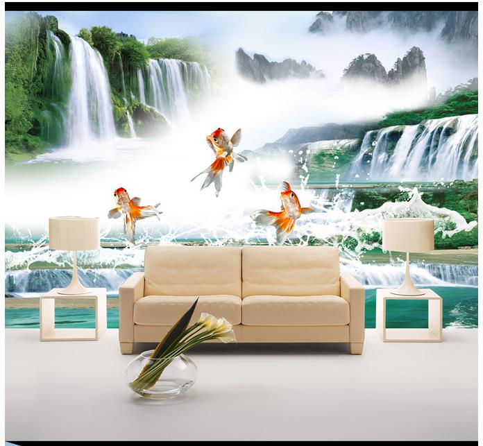 High end custom 3d photo wallpaper murals wall paper Goldfish Waterfall Waterfront Wall TV background wall home decoration image